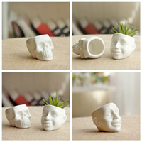 Wholesale New Ceramic Flower Pot White Skull Capita DIY Small Planter Succulent Plants Potted Ashtray Desktop Ornaments Home Office Decor