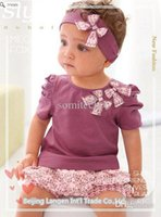 Wholesale New Arriving AMISSA pink butterfly beadband top lace pants Baby Clothing Set Baby Clothes
