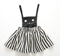 animal overalls - 2015 Newest girls cat Sleeveless Suspender Skirt Overalls Kids Party Dress children dress ot