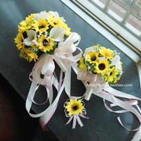 Wholesale Hot Sale Bridal Bouquets Different Colors Artificial Sunflowers and Calla Bridesmaid Bouquets Wedding Accessories New MG08