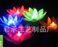 artificial candle lights - Popular Artificial LED Candle Floating Lotus Flower With Colorful Changed Lights For Birthday Wedding Party Decorations Supplies Ornament