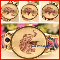 Wholesale Lady Cotton Rope Band With Elephant Printing Watch