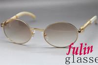 Wholesale round Original White Buffalo horn Sunglasse Unisex Brand Glasses Frame Size mm UV400 Eyewear