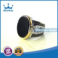Cheap 2015 Winmax F W new arrival 316 Stainless Steel Men Ring Black Agate Stone Ring Good Quality at Wholesale Price