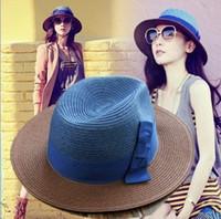 La playa coreana del verano de la manera del sombrero del sol del arco del envío de DHL de la nueva de la paja del estilo de los sombreros anchos libres del borde capsula los sombreros de las mujeres