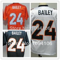 bailey football - Factory Outlet Drop Shipping Old Style Brand Champ Bailey Orange Blue White Mens Throwback Football Jersey Actual Shooting Jerseys