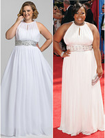 full figure dresses - Plus Size A line Formal Chiffon White Evening Prom Dresses Gowns Full Figure Big Size Women Red Carpet Dresses Celibrity Dresses
