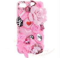 Precio de Iphone bling la rosa-Teléfono celular rosado de los labios DIY de la manera 3D Bling iPhone4,4s, 5s, caso de samsung s5 - kit de la guarida de Deco