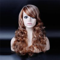 bag tie machine - New Style Females Long Wavy Curly Hair Wig Synthetic Hair Ombre Wig With Full Bags Heat Resistant Free Hair Net
