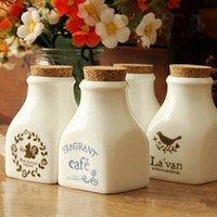 Cheap NEW!Zakka Retro Ceramic Caster 2PCS SET white cork bottles condiment bottles seasoning cans flower Sugar & Creamer Pots