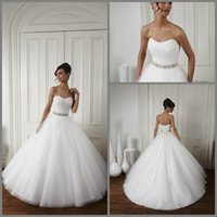 Wholesale 2015 Wedding Dresses New Arrival Princess Simple Elegant Sweetheart Beaded Sash Crystal Net Ball Gown Floor Length