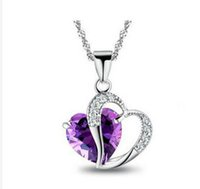 Wholesale DHL Big discount Elegant Lady Sterling Silver Purple Heart Shape Amethyst Crystal Pendant For Necklace Jewelry Accessories