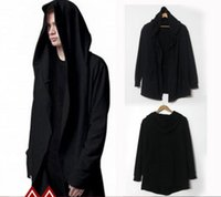 avant garde mens fashion - Fashion Avant garde Big Hood Double Coat Mens Hoodies Sweatshirts Black Cloak Assassins Creed Outwear Oversize Chandal Hombre