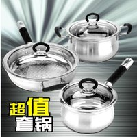 american cookware - Stainless steel thickening american classic cookware piece set soup pot milk pot frying pan