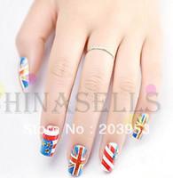 acrylic nail tips uk - set D UK amp USA flag acrylic nail art false fake nail tips stickers bridal nail accessories back glue style