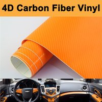 achat en gros de voiture en fibre de carbone orange-Taille: 1.52 * 30m / Roll Haute qualité Orange 4D Carbon Fiber Vinyl Sticker 4D Carbon Fiber Wrap pour Car Wrap bubble Free