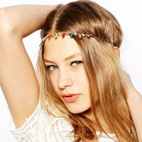 acrylic headwraps - Bohemian Style Colorful Acrylic Geometric Elastic Headband Headwraps Gold Plated Head Chain Fashion Women Hair Jewelry