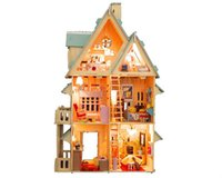 Wholesale Wooden Doll House Model Building Kit Assembing Toys for Kid s Gift Large Size Dolls House Colorful Mood Dollhouse with Furniture