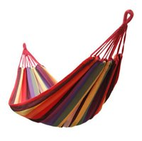 Wholesale Travel Camping Hammock Outdoor Swing Garden Indoor Sleeping Hammock Bed Rainbow Color Canvas Hammock