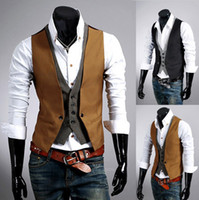 Wholesale 2015 Fashion men s Vests Slim Vest Outwear casual vest new men s casual vest fake two men burst