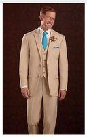 Wholesale New Arrival Top Selling Groom Tuxedos brown Ceremony Suit Groomsman Suit Boy s Suit Jacket Pants Tie Vest Bridegroom Suit B404