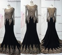 Wholesale 2015 Black Mermaid Crystal Evening Dresses for Women Party Long Sleeves Beaded Lace Embroidery Formal Prom Celebrity Dresses BO7338