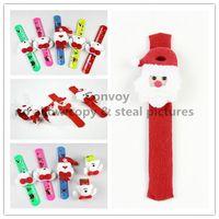 Wholesale Girls Christmas gift Xmas Santa Claus Snowman toy slap snap pat circle Bracelet Wristband for Kids Children christmas tree decorations PS34