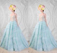 Wholesale Light Sky Blue A Line Strapless Wedding Dresses A Line With Sparkly Crystal Beaded Bridal Gowns With Floor Length Rami Kadi Formal Gowns ZC