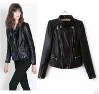 womens leather jackets - Stylish New Womens real leather coat slim stand collar motorcycle overcoat washed Jacket brand quality color balck brown