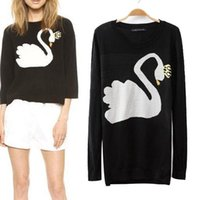 Wholesale New Arrival Hot selling Europe and Autumn Fashion Women s sweater White Swan Pattern knit Long sleeve sweater