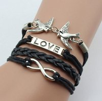 Wholesale hot sale heart love Infinite Believe Hunger Games Anchor Love Jesus Leather Bracelet Fashion Gifts JL