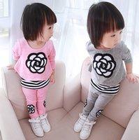 100% cotton suit - Autumn Winter Girls Leisure Wear Sets Girls Suit Kids Outfits Floral False Two Pieces Long Sleeve Shirts Cotton Trousers E1051