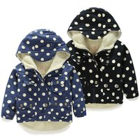 Wholesale Poncho Gloria Jeans Rushed Trench Coat Winter Wear Baby Boy Wave Point Of Thickened Plus Velvet Cotton Padded Wt Children