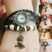 Wholesale Women Girls Retro Braided Leather Bracelet Owl Decoration Quartz Wrist Watch JAB