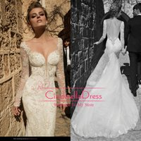 bridal gown sweep train - Vestidos Galia Lahav Lace Sheer Long Sleeves Mermaid Wedding Dresses Backless Beads Appliques Tull Bridal Gowns Sweep Train GL1420