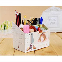 al por mayor organizadores de papel de escritorio-2014 Nueva HE DIY delicado del almacenamiento de papel Junta Caja Organizador de escritorio maquillaje cosmético Container EH