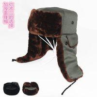Wholesale Men Trapper Hats warm winter plus thicken caps cotton Faux Fur Snowflake Ear Hat Girl Warm Trapper Hat