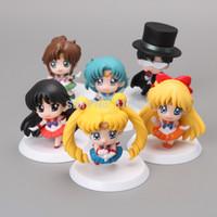 big jupiter - Anime Cartoon Sailor Moon Mars Jupiter Venus Mercury Q Version PVC Action Figure Model Toys Dolls set SAFG010