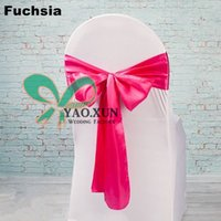 Wholesale White Spandex Chair Covers With Fuchsia Satin Chair Sash