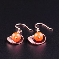 Wholesale Finest CT Real Natural Gem Nan Hong Red Agate Sterling Silver Jewelry Star K Gold Plated Hoop Earrings for Women