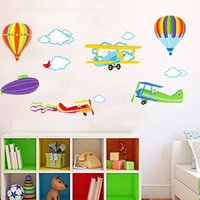 balloon paper airplane - Airplane Balloon Decor Decal Wall Stickers For Childrens Nursery Room Boys Home Décor Friend Gift Sticker