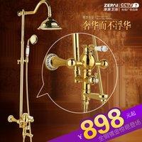 Wholesale All copper lift European golden shower a rain shower suite shower faucet retro antique gilded