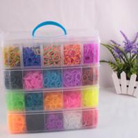 Cheap 20000 pcs DIY 30 colors Colorful Rainbow Rubber Loom Bands 40 boxes set 4 floors