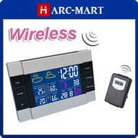 Wholesale RF Wireless Weather Station Alarm Clock Indoor Outdoor Thermometer with Color Backlight CH113