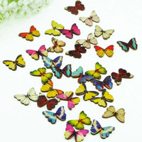 Wholesale Cheap mm Random Mixed Bulk Butterfly Shape Phantom Wooden Painting Sewing Buttons Craft Scrapbooking Holes