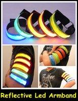 Wholesale 50pcs DHL Flashing Cycling Wear LED Armband Size mm cm Flashing Reflective Led Safety Armband colors