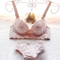 Wholesale Striped Bra Panties Set - 2015 new arrival drop shipping sexy bra set push up belt bow lace women underwear thick adjustable bra and panties Wholesale