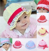 Wholesale Newborn Baby Kids Child Girl Toddler Cotton Bucket Topee floral Sun Cap Hat Sunhat