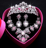 Wholesale 2016 Hot sell New Luxury Rhinestone Necklace Earrings Three piece Bridal Wedding Tiaras Crown Hair Accessories BOX