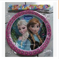 cake plates - Frozen movie kids happy birthday party cake plate decoration supplies FROZEN round Dessert Party Paper Plates frozenc1509